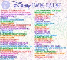 Ideas for drawing ideas disney creative Disney Drawing Challenge, Art Journal Challenge, 30 Day Drawing Challenge, Art Style Challenge, Disney Challenge, Art Drawings Sketches, Disney Drawings, Easy Drawings, Disney Kunst