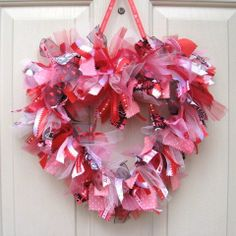 valetines day ribbon wreath   Day Wreath, Pink Heart Ribbon Wreath, Fabric Wreath, Rag Wreath ...