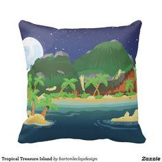 Tropical Treasure Island Throw Pillows