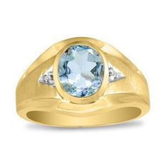 Men's Oval Aquamarine Diamond Dual Finish Yellow Gold Ring Gemologica.com offers a unique, simple selection of handmade fashion, fine statement jewelry for men, woman, kids. Earrings, bracelets, necklaces, pendants, rings, gemstones, diamonds, birthstones #men'sjewelry