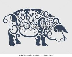 Pig 2 ornament vector. Animal with floral ornament decoration. Use for tattoo or any design you want by ComicVector703, via ShutterStock