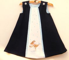 Corduroy dress for 1 year old girl toddler, cotton lined navy blue winter outfit with hand painted skater rabbit, blue pinafore dress