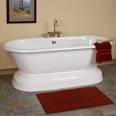 "66"" Aiden Cast Iron Double-Ended Pedestal Tub. White. Tap deck.7"" rim holes.  SKU915848. $1,396.95. MASTER BATH TUB."