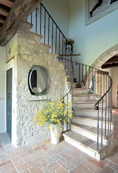 80 modern farmhouse staircase decor ideas stairs home de Style Toscan, Blue Style, Rustic Italian Decor, Rustic Decor, Rustic Charm, Italian Living Room, Italian Home, Italian Villa, Spanish Style Homes