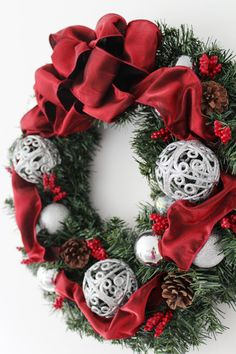 """Red & Silver Color Christmas Wreath 15"""""""