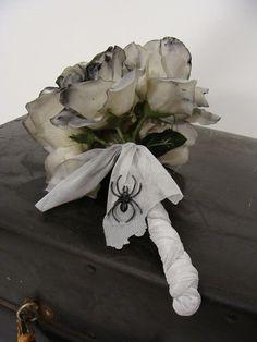 Zombie Corpse Bride Wedding Dead White Rose Flower Bouquet