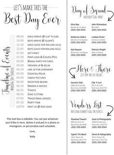 Wedding Checklist Editable Wedding Timeline - Edit in Word - Phone numbers and timeline - Day of Wedding Schedule - Free Wedding, Budget Wedding, Plan Your Wedding, Wedding Tips, Trendy Wedding, Perfect Wedding, Wedding Events, Wedding Ceremony, Wedding Entrance