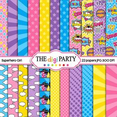 superhero digital paper printables super hero girl printable papers commercial use comic bubbles instant download
