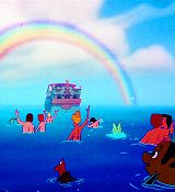 Somewhere under the rainbow...there is a ship followed by mermaids. :3