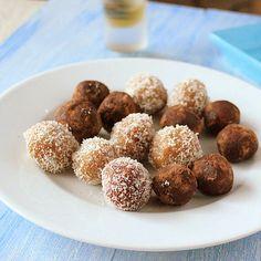 Coconut Almond Rum Balls. Easy Festive Coconut rum balls. Make these into Indian sweet Ladoo with cardamom instead of rum. | VeganRicha.com #vegan #glutenfree #recipe