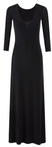 New Womens Ladies Plain Color Long Sleeve Flare Maxi Jersey Dress
