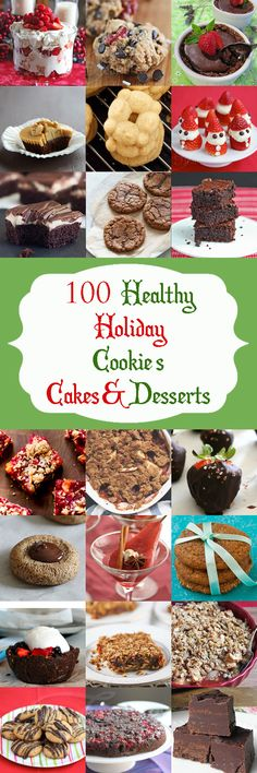 Healthy Christmas and Holiday Dessert Recipes - 100 Healthy Christmas and Holiday Cookies, Cakes & Desserts. Favorite cookies, cakes, tarts and sweet treats made healthier and lighter. Brownie Desserts, Mini Desserts, Holiday Baking, Christmas Desserts, Dessert Recipes, Spanish Desserts, Light Desserts, Italian Desserts, Frozen Desserts