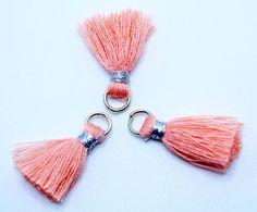 Peach Tassels Small Cotton Jewelry Tassels with Silver