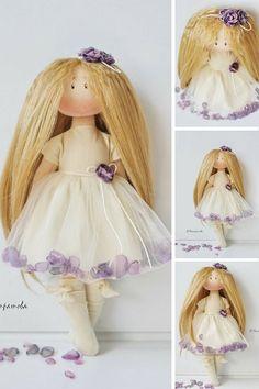 Princess doll Tilda doll Interior doll by AnnKirillartPlace Chiffon, Textile Fabrics, Soft Dolls, Fabric Dolls, Nursery, Flower Girl Dresses, Etsy, Hello Dear, Interior
