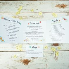 This design features a pretty floral border framing your names. Perfect for any bohemian or rustic summer wedding. Inside panels can include Directions, Map