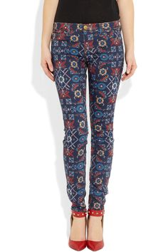 Current/Elliott, The Ankle printed mid-rise skinny jeans
