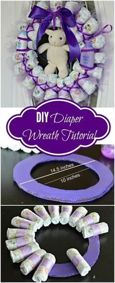 Tired of Diaper Cakes at Baby Showers? Check out this Diaper Wreath Tutorial! This article will show you step by step how to make it.: