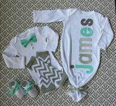 Baby Boy Newborn Layette Set Crib Shoes Bow Tie by LeopardLaceLove