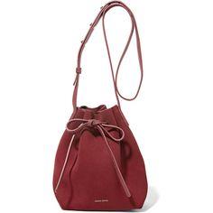 Mansur Gavriel Mini suede bucket bag (28.290 RUB) ❤ liked on Polyvore featuring bags, handbags, shoulder bags, claret, drawstring bucket bag, mini shoulder bag, suede shoulder bag, mini crossbody purse and mini handbags