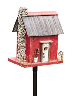 Rustic Red Bird House is Made from Genuine Barn Board
