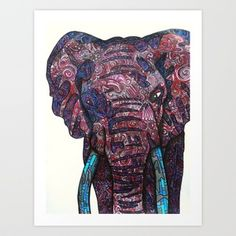 Elephant Art Print, iphone case, or stationery cards by Lauren Wright