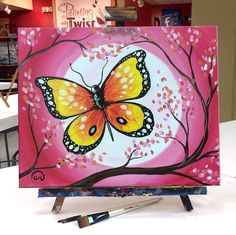 """""""Butterfly on a Pink Moon"""" - Art Painting Oil Pastel Paintings, Oil Pastel Art, Oil Pastel Drawings, Oil Pastels, Easy Canvas Art, Mini Canvas Art, Easy Art, Butterfly Drawing, Butterfly Painting Easy"""
