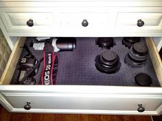 After! Customizable foam I use at work sized to my drawer, camera and lenses