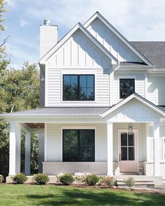 Exterior paint colora for house stucco curb appeal dream homes 68 ideas - Modern Exterior Siding, Exterior Remodel, Exterior Paint, Exterior Design, House Painting Exterior, Grey Exterior, Modern Exterior, Door Design, White Farmhouse Exterior