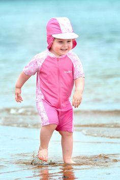 Petite Bebe - Rashoodz Summer Rose (Swim Suit and Hat Set) at Petite Bebe a64515d1bcfa