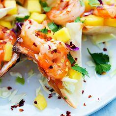 Firecracker Shrimp Wonton Tacos