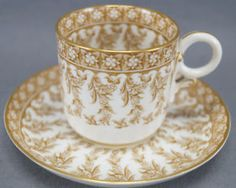 Royal Worcester W 3020 7 Pattern Brown Floral Demitasse Cup & Saucer Circa 1890