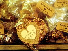 Heart-shaped birdseed feeder favors for wedding guests!