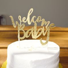 Baby Shower Cake Topper // Welcome baby cake by HoorayPartyCo