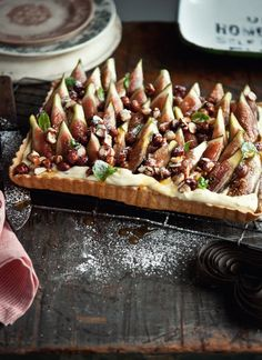 Roasted Fig Tart with Orange Blossom, Cinnamon and Mint Cream filling