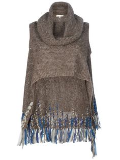 Brown linen sweater poncho from Vanessa Bruno featuring no sleeves, a cowl neck and a longer hem at the back with a blue/nude fringe detail.