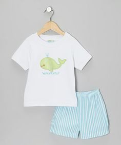 Another great find on #zulily! White Whale Tee & Turquoise Stripe Shorts - Toddler & Boys #zulilyfinds