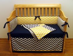 Parker Crib Bedding 5-piece Chevron Navy and Yellow. $350.00, via Etsy.