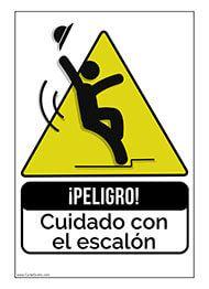 Imprime este cartel ¡Peligro! Cuidado con el escalón