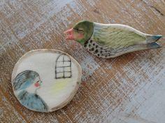 """Porcelain brooch """"By my window"""""""