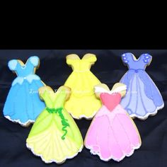 Princess dress cookies. I ordered these with Etsy and ordered a few more different princesses.  @vtafoyapeace