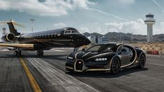 Bugatti Chiron and private jet, aircraft wallpaper, hd image, picture, Luxury Sports Cars, Best Luxury Cars, Sport Cars, Jets Privés De Luxe, Luxury Jets, Luxury Private Jets, Bugatti Chiron Black, Bugatti Chiron Interior, Supercars