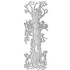 """Treed by?. The size of this stamped image is 1 1/4"""" x 3 7/8""""."""