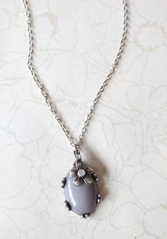 Forget Me Not Necklace In Gray | Modern Vintage Jewelry