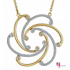 """14k White and Yellow Gold Diamond Floral Pendant Necklace 18"""" 0.65 Carat, VS Clarity, F Color"""