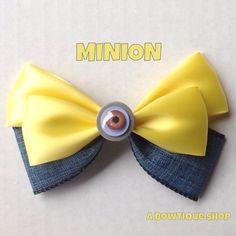 minion hair bow by abowtiqueshop on Etsy https://www.etsy.com/listing/175679298/minion-hair-bow