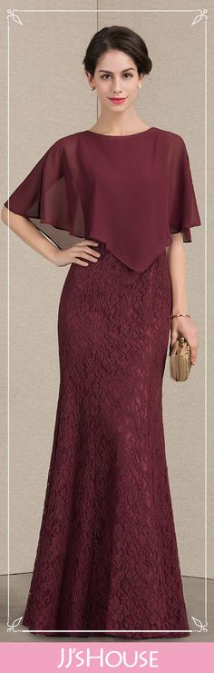 Column Scoop Neck Floor-Length Lace Mother of the Bride Dress. #JJsHouse #Mother dresses