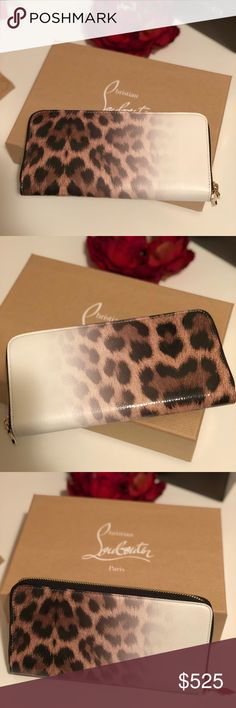 Christian Louboutin Panettone White Leopard Wallet Brand new. Authentic. Limited edition print. This wallet was purchased over the summer at the Christian Louboutin boutique in Chicago. The wallet has never been used. I have the tags and receipt. Everything pictured is included. The wallet is a complete zip around with 12 slots for cards, 2 pockets for cash, and an inside zipper compartment. Christian Louboutin Bags Wallets