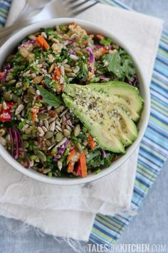Massaged kale avocado and millet salad! All beautiful, colourful and nutritious.