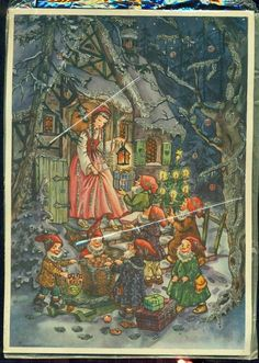 1950s Snow White and The Seven Dwarfs Advent Calendar Made in Germany