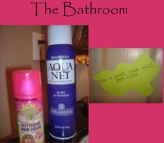 "Love the Aqua Net in the bathroom for guests and the ""for a good time call 867-5309* Clever!"